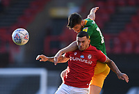 22nd July 2020; Ashton Gate Stadium, Bristol, England; English Football League Championship Football, Bristol City versus Preston North End; Andrew Hughes of Preston North End competes in the air with Pedro Pereira of Bristol City