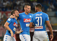 Dries Mertens  , Marek Hamsik celebrates after scoring  during the friendly soccer match,between SSC Napoli and Onc Nice      at  the San  Paolo   stadium in Naples  Italy , August 01, 2016<br />  during the friendly soccer match,between SSC Napoli and Onc Nice      at  the San  Paolo   stadium in Naples  Italy , August 02, 2016
