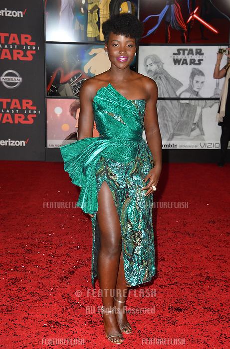 "Lupita Nyong'o at the world premiere for ""Star Wars: The Last Jedi"" at the Shrine Auditorium. Los Angeles, USA 09 December  2017<br /> Picture: Paul Smith/Featureflash/SilverHub 0208 004 5359 sales@silverhubmedia.com"