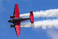 Matt Younkin pilots the World War II era  Beech 18 during an airshow aerobatic performance at Hillsboro, Oregon, in August of 2016.