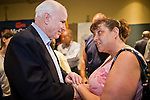 """July 10, 2010 - PHOENIX, AZ: US Senator JOHN MCCAIN (R-AZ) greets supporters and volunteers after a town hall meeting in Phoenix. Sen. McCain held a """"town hall"""" meeting at a hotel in Phoenix Saturday morning. He criticized the Obama administration's handling of the war in Afghanistan, specifically the July 2011 date for the beginning of the withdrawl of US forces, the administration's handling of the immigration and border security issue and the recently passed health care reform bill, which he called """"Obamacare."""" McCain is in a primary battle with former Congressman JD Hayworth, he did not mention Hayworth, by name during the meeting.   Photo by Jack Kurtz"""