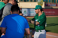 Daytona Tortugas third baseman Jonathan India (6) signs autographs before a Florida State League game against the Palm Beach Cardinals on April 11, 2019 at Roger Dean Stadium in Jupiter, Florida.  Palm Beach defeated Daytona 6-0.  (Mike Janes/Four Seam Images)