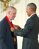 United States President Barack Obama presents the 2015 National Humanities Medal to Ron Chernow, Author of Brooklyn, New York, during a ceremony in the East Room of the White House in Washington, DC on Thursday, September 22, 2016.<br /> Credit: Ron Sachs / CNP