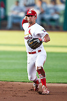 Greg Garcia (10) of the Springfield Cardinals throws to first during a game against the Arkansas Travelers at Hammons Field on May 5, 2012 in Springfield, Missouri. (David Welker/Four Seam Images)