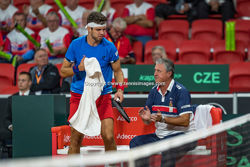 The Hague, The Netherlands, September 15, 2017,  Sportcampus , Davis Cup Netherlands - Chech Republic, First rubber:The Chech bench Jiri Vesely (CZE) and captain Jaroslav Navratyil<br /> Photo: Tennisimages/Henk Koster