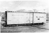 Side view of D&amp;RGW short reefer #55 at Durango.<br /> D&amp;RGW  Durango, CO  Taken by Maxwell, John W. - 1949