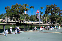 Competition in progress at the Mount Dora Lawn Bowling Club.