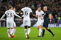Tottenham Hotspur's Jan Vertonghen protests to Referee Szymon Marciniak <br /> <br /> Photographer Craig Mercer/CameraSport<br /> <br /> UEFA Champions League Round of 16 Second Leg - Tottenham Hotspur v Juventus - Wednesday 7th March 2018 - Wembley Stadium - London <br />  <br /> World Copyright &copy; 2017 CameraSport. All rights reserved. 43 Linden Ave. Countesthorpe. Leicester. England. LE8 5PG - Tel: +44 (0) 116 277 4147 - admin@camerasport.com - www.camerasport.com