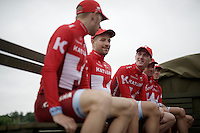 Jurgen Van den Broeck (BEL/Katusha) &amp; teammates at the Grand D&eacute;part - Official Teams Presentation in the historic village of Sainte-M&egrave;re-Eglise<br /> <br /> 103rd Tour de France 2016