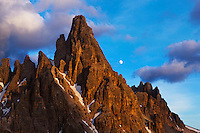 Mountain impression Paternkofel with moon - Europe, Italy, South Tyrol, Sexten Dolomites, Tre Cime - Sunset - July 2009 - Mission Dolomites Tre Cime
