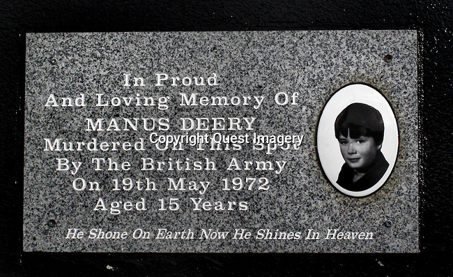 Manus Deery, a 15 year-old murdered by the British Army in the Bogside, a neighborhood outside the city walls of Derry, Northern Ireland.  The area has been a focus point for many of the events of &quot;The Troubles&quot;, from the Battle of the Bogside and Bloody Sunday in the 1960s and 1970s.<br />