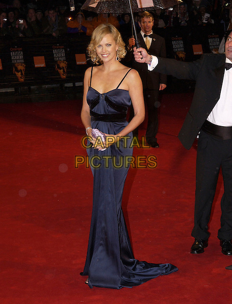 CHARLIZE THERON.Arrivals at The Orange British Academy Film Awards, .(BAFTA's) Odeon Leicester Square, London, England,.19 February 2006.bafta baftas full length navy blue black dress silk satin man assistant holding umbrella .Ref: FIN.www.capitalpictures.com.sales@capitalpictures.com.©Steve Finn/Capital Pictures.