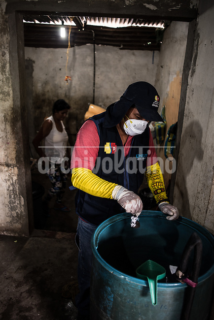 Un funcionario del Ministerio de Salud de Ecuador trata un recipiente de agua en una casa de Machala para evitar huevos y larvas de mosquito. El virus del Sika como otras enfermedades transmitidas por picaduras de mosquito est&aacute;n directamente relacionadas con la pobreza. En Machala, Ecuador,  un grupo de cient&iacute;ficos de Upstate New York Medical University investigan el comportamiento de estas enfermedades de transmision vectorial lo confirman. Es evidente, como en toda la Am&eacute;rica Latina, los sectores m&aacute;s empobrecidos est&aacute;n totalmente expuestos e indefensos a estas enfermedades que brotan con mayor fuerza despues de las intensas lluvias y otros desastres naturales.The Sika virus as other diseases transmitted by mosquitos are directly related to poverty. In Machala, Ecuador, a group of scientists from Upstate New York Medical University investigate the behavior of these diseases. It is evident, as in all of Latin America, that the most impoverished sectors are exposed and defenseless to these diseases, which emerge more strongly after intense rains and other natural disasters.<br /> The Sika virus as other diseases transmitted by mosquitos are directly related to poverty. In Machala, Ecuador, a group of scientists from Upstate New York Medical University investigate the behavior of these diseases. It is evident, as in all of Latin America, that the most impoverished sectors are exposed and defenseless to these diseases, which emerge more strongly after intense rains and other natural disasters.