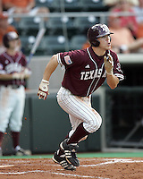 Texas A&M 2B Blake Stouffer doubles against Texas on May 16th, 2008 in Austin Texas. Photo by Andrew Woolley / Four Seam images..