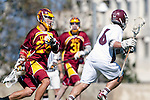 Los Angeles, CA 02/20/10 - Jordan Morse Reiff (USC # 25) and \L16\  in action during the USC-Loyola Marymount University MCLA/SLC divisional game at Leavey Field (LMU).  LMU defeated USC 10-7.