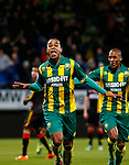 Nederland, Den Haag, 21 februari 2014<br /> Eredivisie<br /> Seizoen 2013-2014<br /> ADO Den Haag-Go Ahead Eagles <br /> Roland Alberg (l.) van ADO Den Haag juicht nadat hij de 3-1 heeft gescoord.