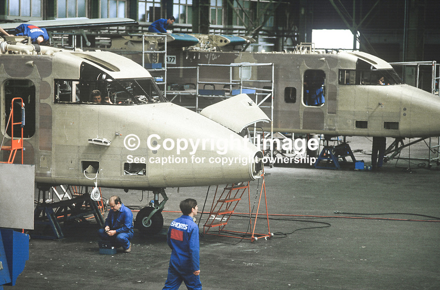 Short Brothers Ltd, Belfast, factory floor, production, assembly, short range feeder aircraft, 1985. 19850611SBS3.<br />