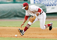 TALLAHASSEE, FL 5/14/10-FSU-NC STATE BASE10 CH-Florida State's Sherman Johnson closes on a ground ball against N.C. State Friday at Dick Howser Stadium in Tallahassee. The Wolfpack downed the Seminoles 5-2...COLIN HACKLEY PHOTO