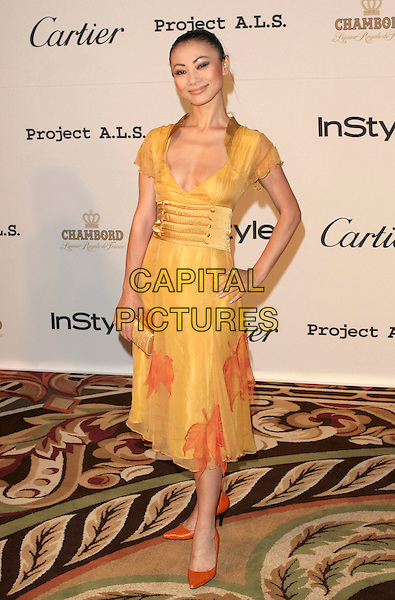 BAI LING.5th Annual Project A.L.S. Benefit Gala Honoring Ben Stiller held at The Westin Century Plaza Hotel. .Century City, California.May 6th, 2005.Photo Credit: Zach Lipp/AdMedia.full length hand on hip plunging neckline yellow clutch purse yellow dress orange shoes.www.capitalpictures.com.sales@capitalpictures.com.© Capital Pictures.