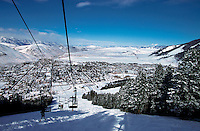 Ski lift at Snow King Ski Resort. Teton Mountain Range, Jackson Hole, Wyoming.