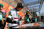 Slovakian National Champion Peter Sagan (SVK) Bora-Hansgrohe at sign on in Fortezza Medicea before the start of the 110th edition of Milan-San Remo 2019 running 291km from Milan to San Remo, Italy. 23rd March 2019.<br /> Picture: LaPresse/Gian Matteo D'Alberto | Cyclefile<br /> <br /> <br /> All photos usage must carry mandatory copyright credit (© Cyclefile | LaPresse/Gian Matteo D'Alberto)