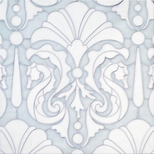 "Caroushell®, a waterjet jewel glass mosaic, shown in Opal and Moonstone, is part of Cean Irminger's second KIDDO Collection, ""KIDDO: Wunderkammer® Edition"" for New Ravenna."
