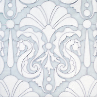 "Caroushell, a waterjet jewel glass mosaic, shown in Opal and Moonstone, is part of Cean Irminger's second KIDDO Collection, ""KIDDO: Wunderkammer Edition"" for New Ravenna."