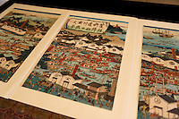 "A woodblock print showing sake brewing in Fushimi during the Edo Period. Fushimi, Kyoto, Japan, October 10, 2015. Tsukinokatsura Sake Brewery was founded in 1675 and has been run by 14 generations of the Masuda family. Based in the famous sake brewing region of Fushimi, Kyoto, it has a claim to be the first sake brewery ever to produce ""nigori"" cloudy sake. It also brews and sells the oldest ""koshu"" matured sake in Japan."