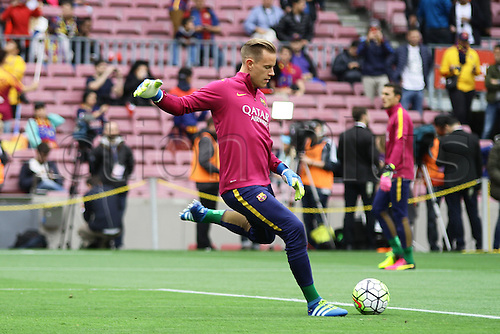 08.05.2016. Nou Camp, Barcelona, Spain. La Liga. FC Barcelona versus RCD Espanyol. Barca keeper Ter Stegen during the warm Up