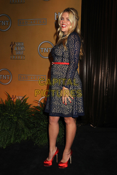 Busy Philipps.19th Annual Screen Actors Guild Awards Nominations Announcement held at the Pacific Design Center, West Hollywood, California, USA..December 12th, 2012.SAG full length red lace dress belt shoes side .CAP/ADM/BP.©Byron Purvis/AdMedia/Capital Pictures.