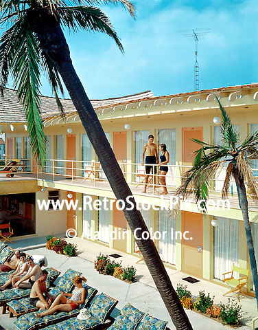 Tahiti Motel, Wildwood, NJ. Balcony area with palm trees.1960's photograph.