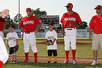 Batavia Muckdogs Joseph Bergman, Nick Longmire, and Eric Schwager a game vs. the Auburn Doubledays at Dwyer Stadium in Batavia, New York June 19, 2010.   Batavia defeated Auburn 2-1.  Photo By Mike Janes/Four Seam Images