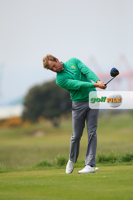 Jonathan Yates (Naas) on the 3rd tee during the Flogas Irish Amateur Open Championship Am-Am at Royal Dublin on Monday 9th May 2016.<br /> Picture:  Thos Caffrey / www.golffile.ie