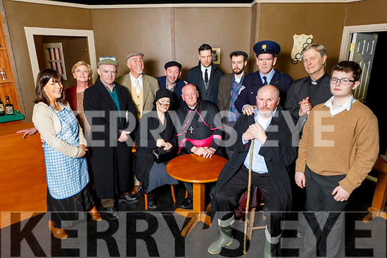 Zyber Theatre ready to go on stage in Siamsa Tire with the production of The Field on Thursday<br /> Front  John Patton (The Bull).<br /> Standing l to r: Rhona Johnston (Mamie Flanagan), Siobhan Keane (Mrs Daniel), Rory O'Mahoney (Mick Flanagan), Frank Houlihan (Dandy McCabe), George Lowe (Bird O'Donnell), Chris Connell (William Dee), Kevin McElligott (Tadgh McCabe), Raphael Crowley (Sgt Leahy), Eoin Nolan (Fr Murphy) and Conor O'Sullivan (Liamie Flannagan).<br /> Around the table l to r: Mags Slattery (Mrs Maggie Butler) and Derek Bullman (The Bishop).