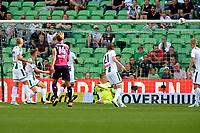GRONINGEN - Voetbal, FC Groningen - FC Utrecht,  Eredivisie , Noordlease stadion, seizoen 2017-2018, 27-08-2017,   FC Groningen doelman Segio Padt is kansloos maar krijgt hulp van de lat