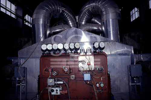 Pocerady, Czech Republic. Power station; Skoda plant inside with stainless steel ducts and gauges.