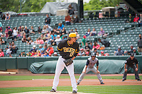 Zach Stewart (12) of the Salt Lake Bees looks for the sign against the Colorado Springs Sky Sox in Pacific Coast League action at Smith's Ballpark on May 24, 2015 in Salt Lake City, Utah.  (Stephen Smith/Four Seam Images)