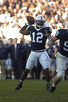 29 October 2005:  Pen State QB Michael Robinson (12) throws a pass.  Robinson passed for 213 yards and rushed for 96.  The Penn State Nittany Lions defeated the Purdue Boilermakers 33-15 October 29, 2005 at Beaver Stadium in State College, PA..
