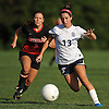 Julia Rega #13 of St. Dominic races downfield during a varsity girls soccer game against Long Island Lutheran at Charles Wang Athletic Complex in Muttontown on Monday, Oct. 3, 2016. She scored one goal in St. Dominic's 6-4 win.
