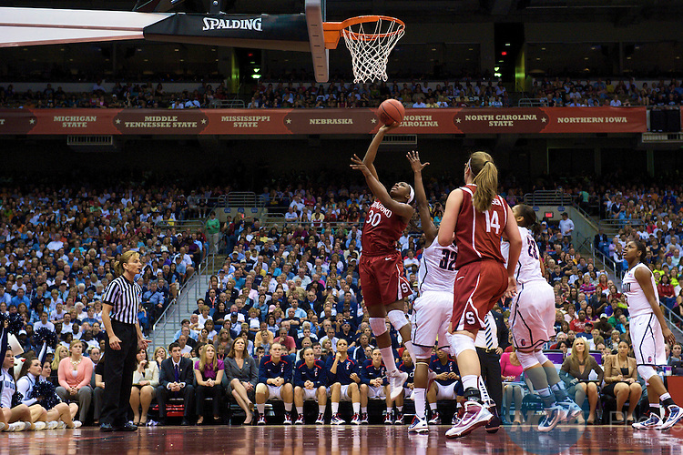 06 APR 2010: Nnemkadi Ogwumike (30) of Stanford takes a shot during the Division I Women's Basketball Championship held at the Alamodome in San Antonio, TX. Connecticut defeated Stanford 53-47 for the national title. Stephen Nowland/NCAA Photos