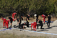 "Pictured: Special forensics police officers search a field in Kos, Greece. Tuesday 27 September 2016<br /> Re: Police teams searching for missing toddler Ben Needham on the Greek island of Kos have said they are ""optimistic"" about new excavation work.<br /> Ben, from Sheffield, was 21 months old when he disappeared on 24 July 1991 during a family holiday.<br /> Digging has begun at a new site after a fresh line of inquiry suggested he could have been crushed by a digger.<br /> South Yorkshire Police (SYP) said it continued to keep an ""open mind"" about what happened to Ben."