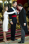 First official act of the Kings Felipe VI and Letizia Ortiz, waving at Mariano Rajoy. Royal Palace. Madrid. 06/19/2014. Samuel Roman/Photocall3000