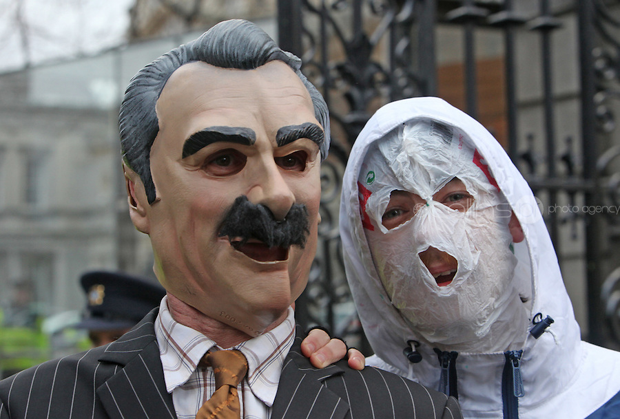 "15/12/2010.Member of The Rubber Bandits.Mr Chrome .with a Willie O' Dea Lookalike.at the launch of their new single ""Horse Outside"" which is a song about horses .outside Leinster House on Kildare Street , Dublin..Photo: Gareth Chaney Collins"