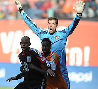Tally Hall (1) of the Houston Dynamo during a corner kick. The Houston Dynamo defeated D.C. United 2-1, at RFK Stadium, Saturday October 27, 2013.