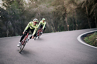 Edward THEUNS (BEL/Trek-Segafredo) &amp; Alex KIRSCH (LUX/Trek-Segafredo) descending<br /> <br /> Team Trek-Segafredo men's team<br /> training camp<br /> Mallorca, january 2019<br /> <br /> &copy;kramon