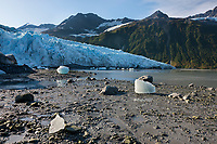 Terminus of the tidewater face of Harriman glacier, Chugach mountains, Chugach National Forest, Prince William Sound, southcentral, Alaska.