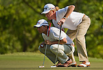 Pablo Larrazabal and Miguel Angel Jimenez of Spain in action during the 54th Omega Mission Hills World Cup of Golf on November 29, 2008 in Shenzhen, China. Photo by Victor Fraile