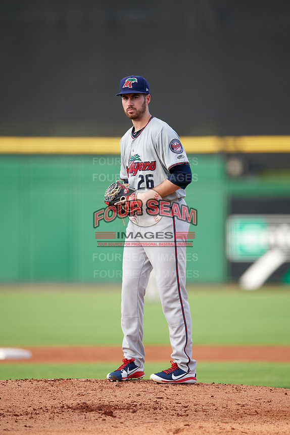 Fort Myers Miracle starting pitcher Clark Beeker (26) gets ready to deliver a pitch during a game against the Clearwater Threshers on May 31, 2018 at Spectrum Field in Clearwater, Florida.  Clearwater defeated Fort Myers 5-1.  (Mike Janes/Four Seam Images)