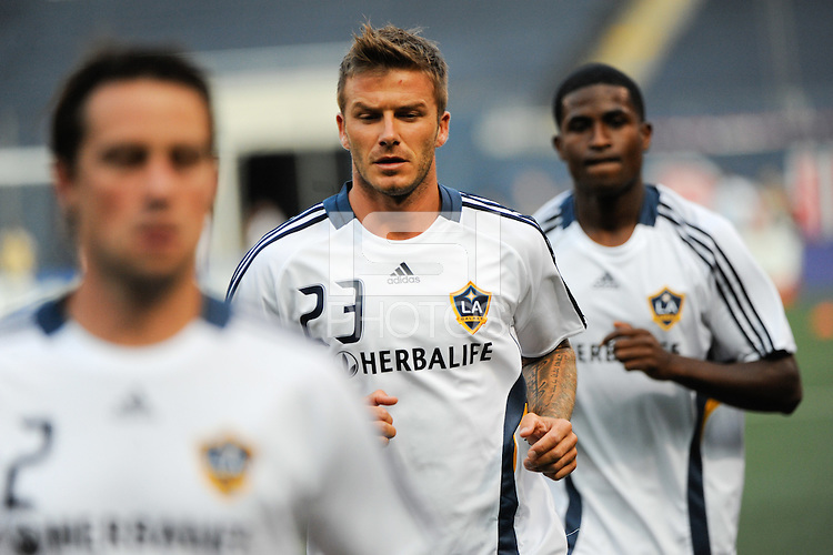 David Beckham (23) of the Los Angeles Galaxy warms up prior to the match. The Los Angeles Galaxy defeated the New York Red Bulls 3-1 during a Major League Soccer match at Giants Stadium in East Rutherford, NJ, on July 16, 2009.
