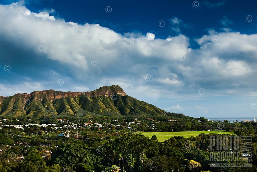 A classic daytime view of Diamond Head and Kapi'olani Park, Honolulu, O'ahu.
